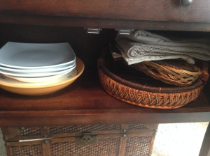 Dining room hutch: Removed some serving dishes I almost NEVER use and definitely don't LOVE.